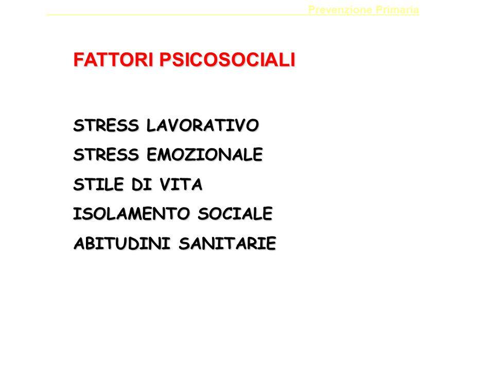 FATTORI PSICOSOCIALI STRESS LAVORATIVO STRESS EMOZIONALE STILE DI VITA