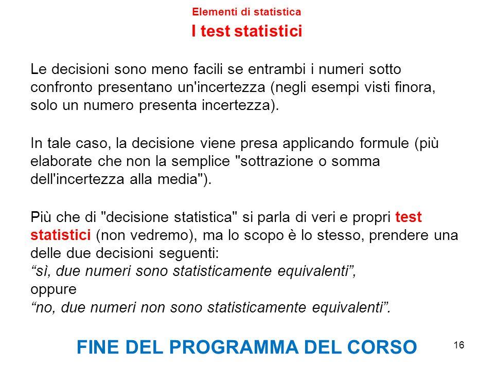 Elementi di statistica FINE DEL PROGRAMMA DEL CORSO