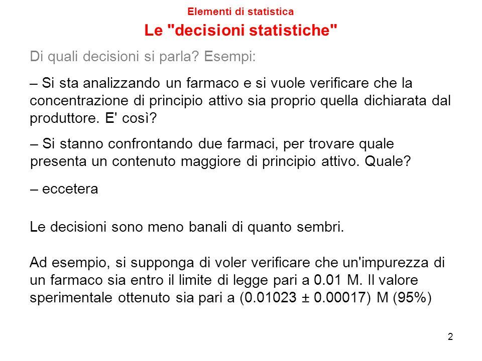 Elementi di statistica Le decisioni statistiche