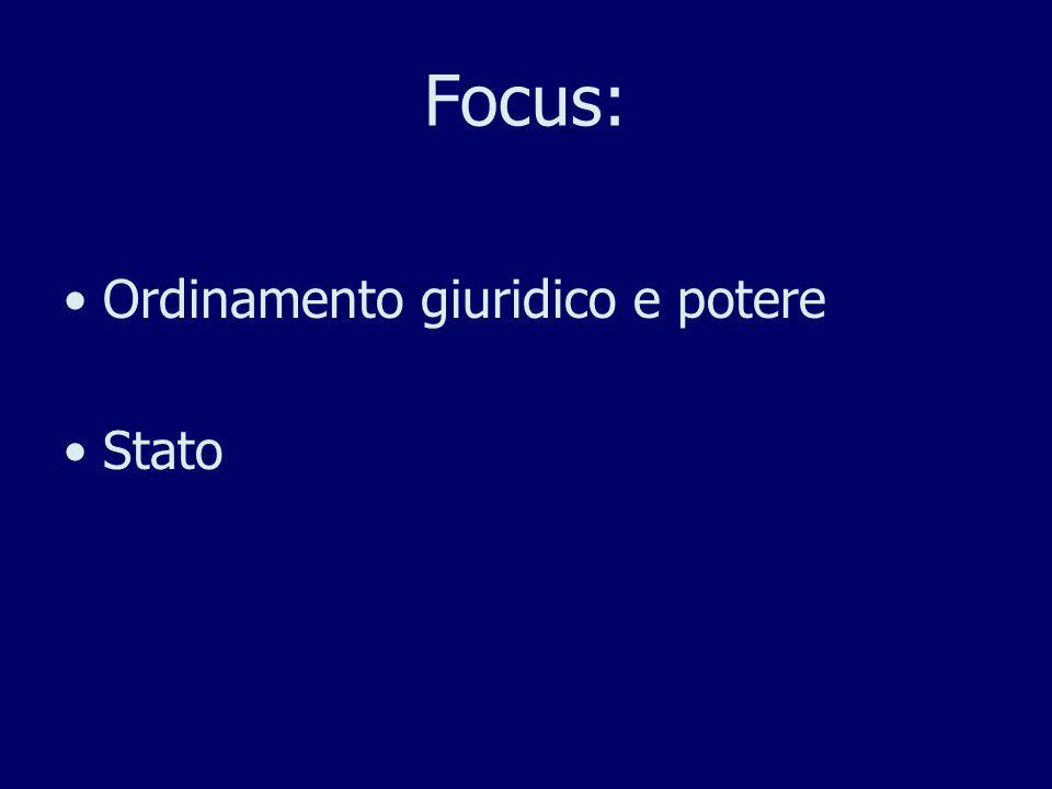 Focus: Ordinamento giuridico e potere Stato