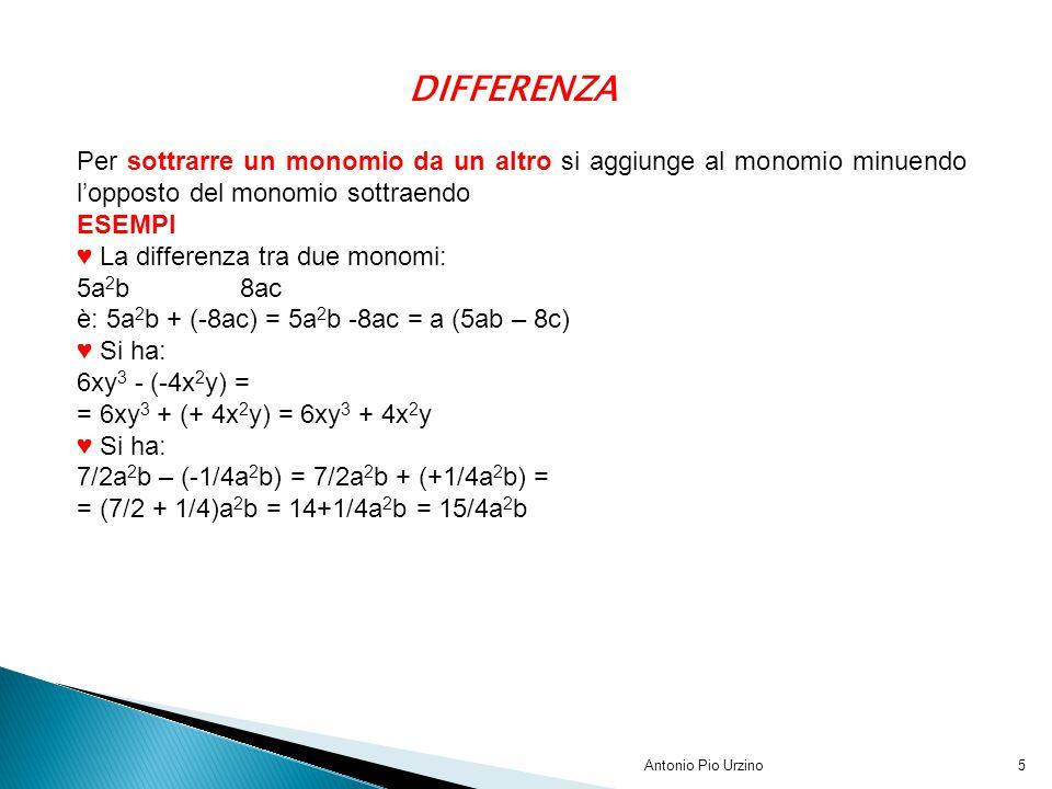 DIFFERENZA Per sottrarre un monomio da un altro si aggiunge al monomio minuendo l'opposto del monomio sottraendo.