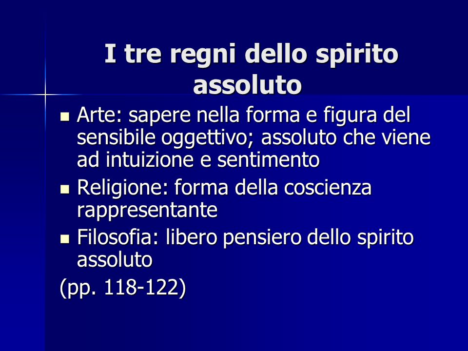 I tre regni dello spirito assoluto