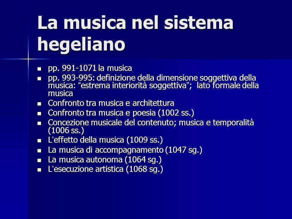 La musica nel sistema hegeliano