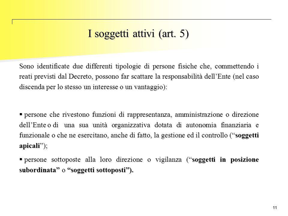I soggetti attivi (art. 5)