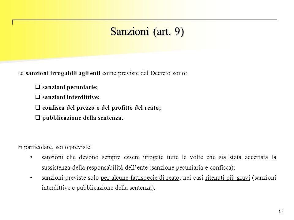 Sanzioni (art. 9) Le sanzioni irrogabili agli enti come previste dal Decreto sono: sanzioni pecuniarie;