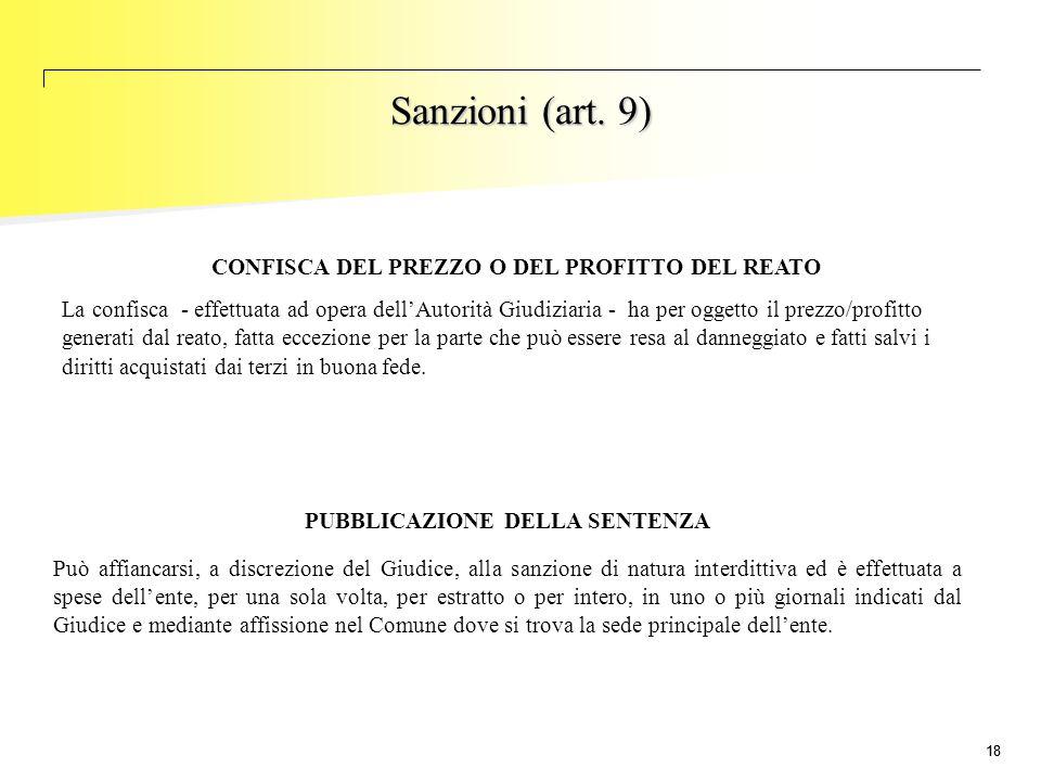 Sanzioni (art. 9) CONFISCA DEL PREZZO O DEL PROFITTO DEL REATO