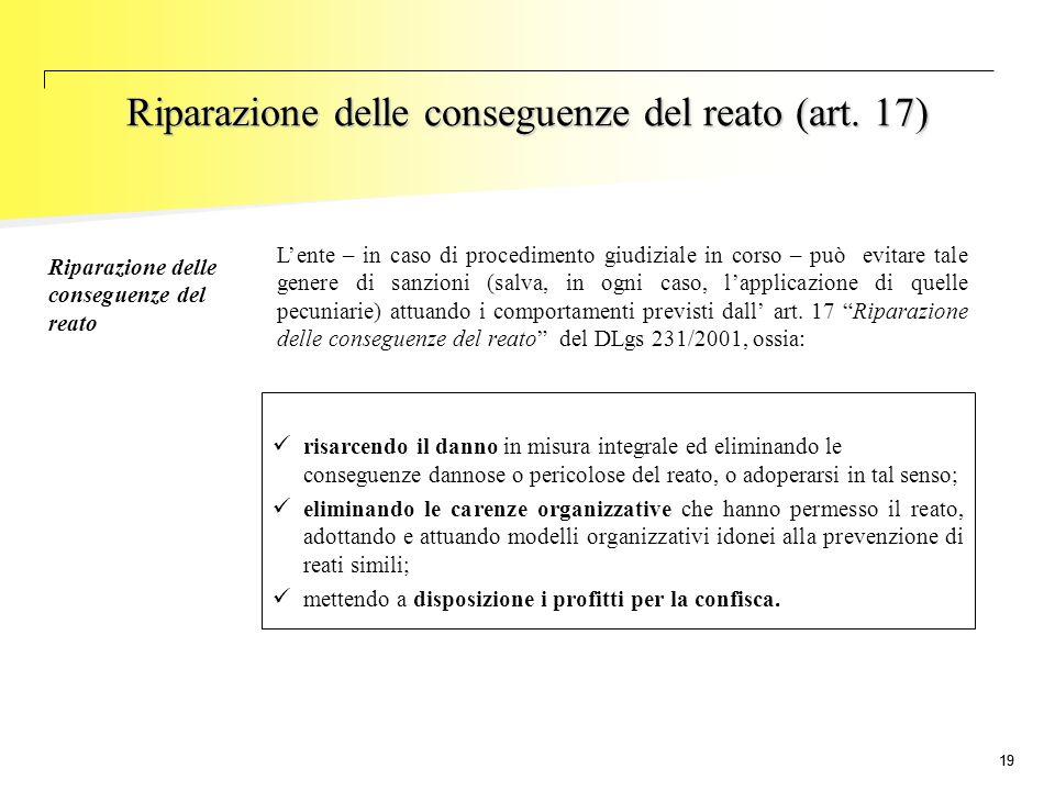 Riparazione delle conseguenze del reato (art. 17)