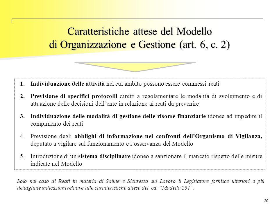 Caratteristiche attese del Modello di Organizzazione e Gestione (art