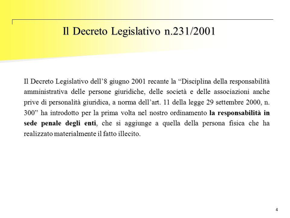 Il Decreto Legislativo n.231/2001
