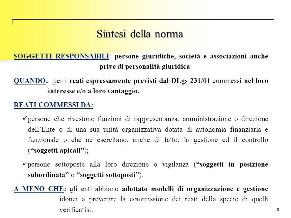 Sintesi della norma SOGGETTI RESPONSABILI: persone giuridiche, società e associazioni anche prive di personalità giuridica.