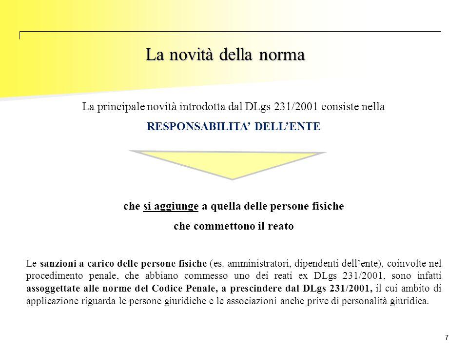 La novità della norma La principale novità introdotta dal DLgs 231/2001 consiste nella. RESPONSABILITA' DELL'ENTE.