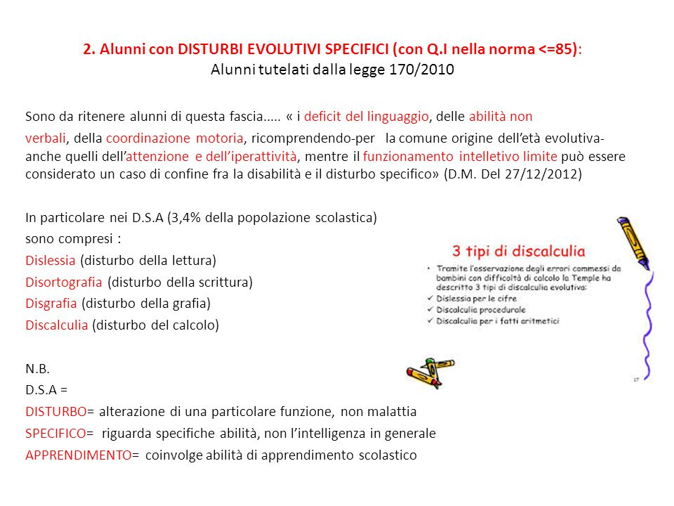 2. Alunni con DISTURBI EVOLUTIVI SPECIFICI (con Q