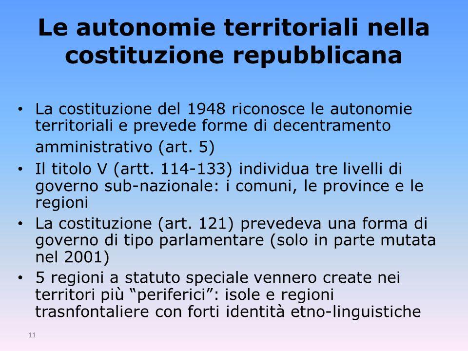 Le autonomie territoriali nella costituzione repubblicana