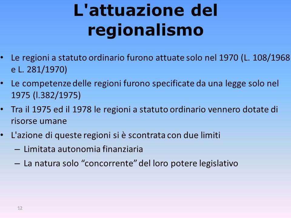 L attuazione del regionalismo