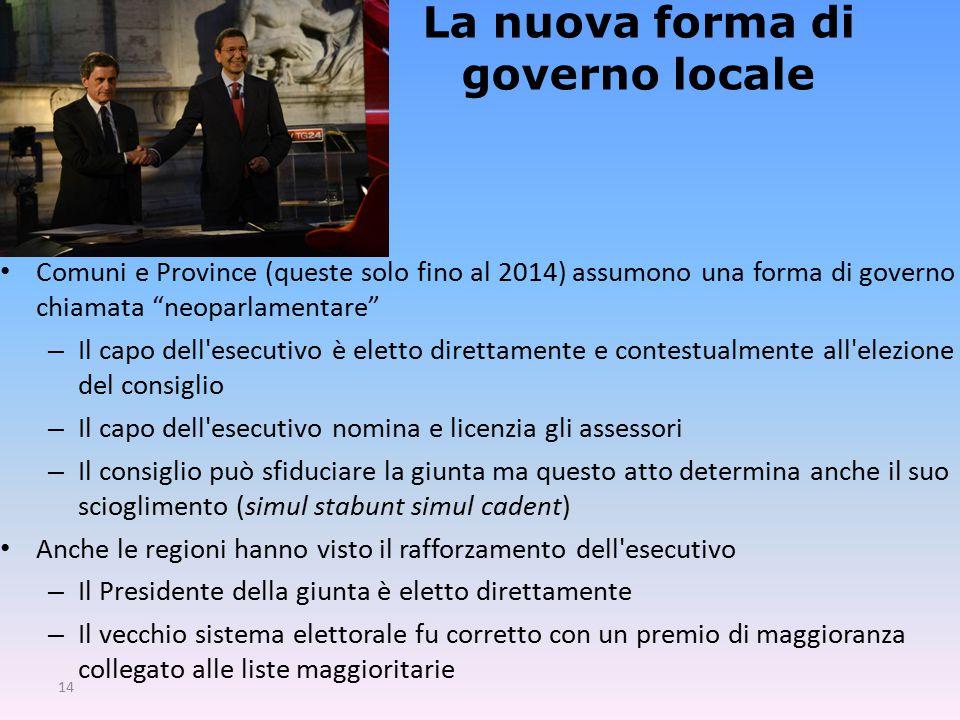 La nuova forma di governo locale