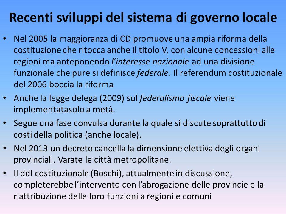 Recenti sviluppi del sistema di governo locale