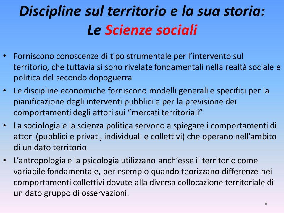 Discipline sul territorio e la sua storia: Le Scienze sociali