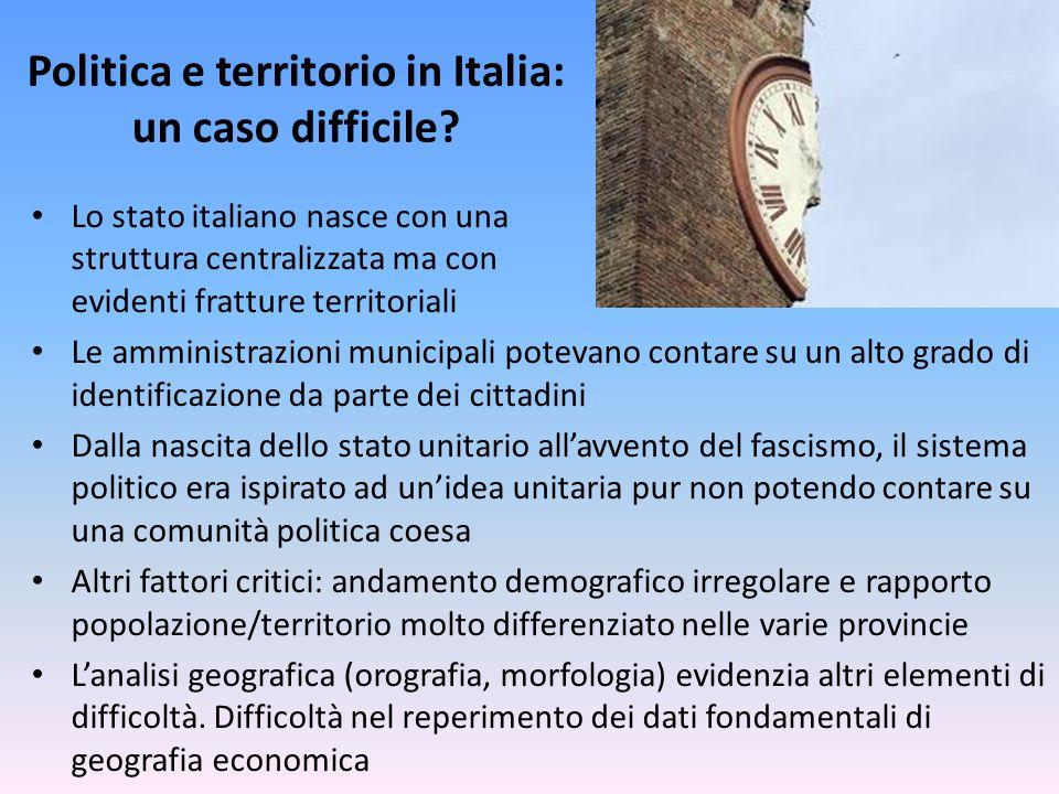 Politica e territorio in Italia: un caso difficile