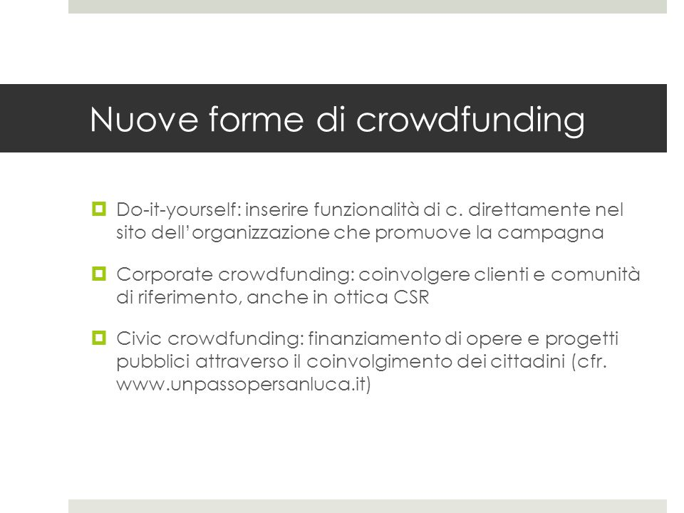 Nuove forme di crowdfunding
