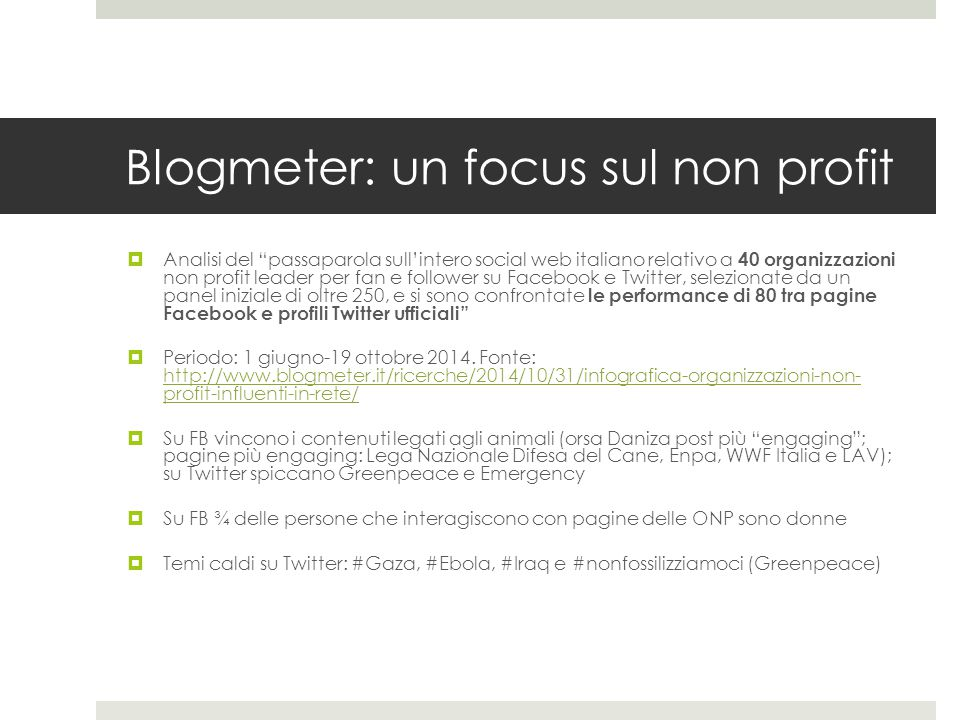 Blogmeter: un focus sul non profit