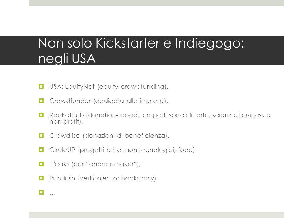 Non solo Kickstarter e Indiegogo: negli USA