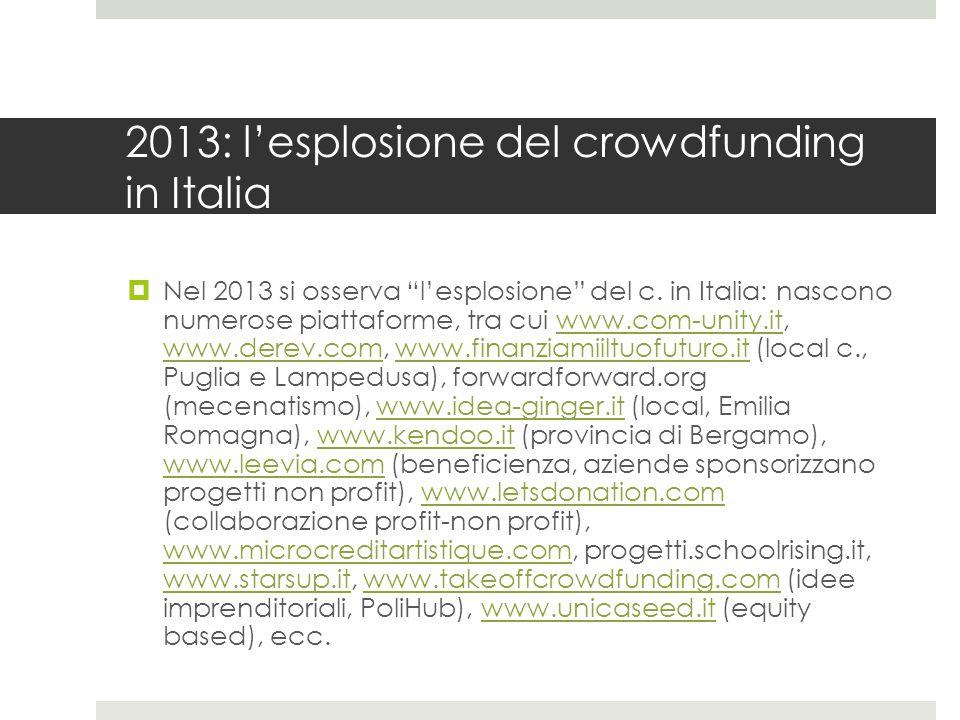 2013: l'esplosione del crowdfunding in Italia