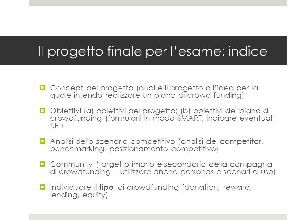 Il progetto finale per l'esame: indice