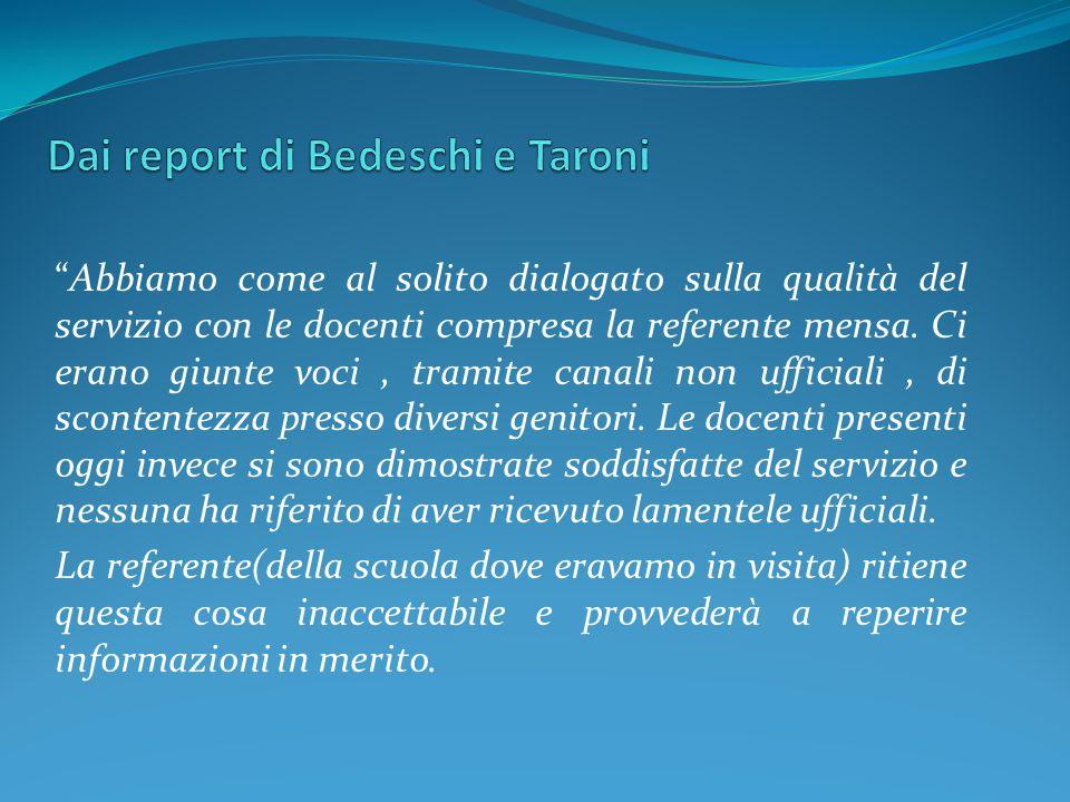 Dai report di Bedeschi e Taroni