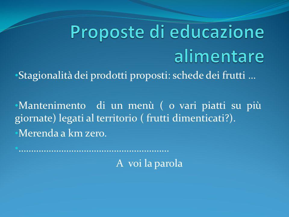 Proposte di educazione alimentare