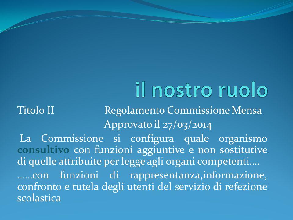 il nostro ruolo Titolo II Regolamento Commissione Mensa