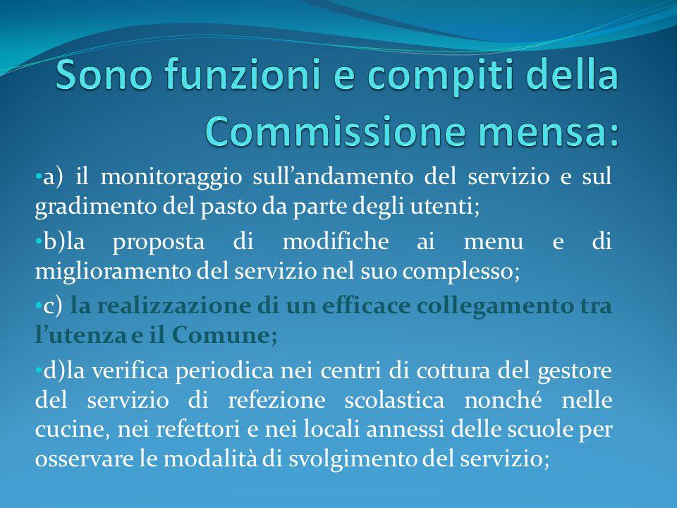 Sono funzioni e compiti della Commissione mensa: