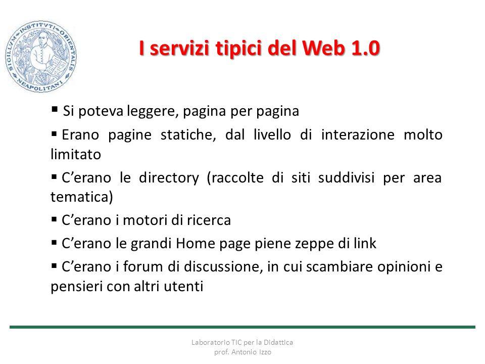 I servizi tipici del Web 1.0
