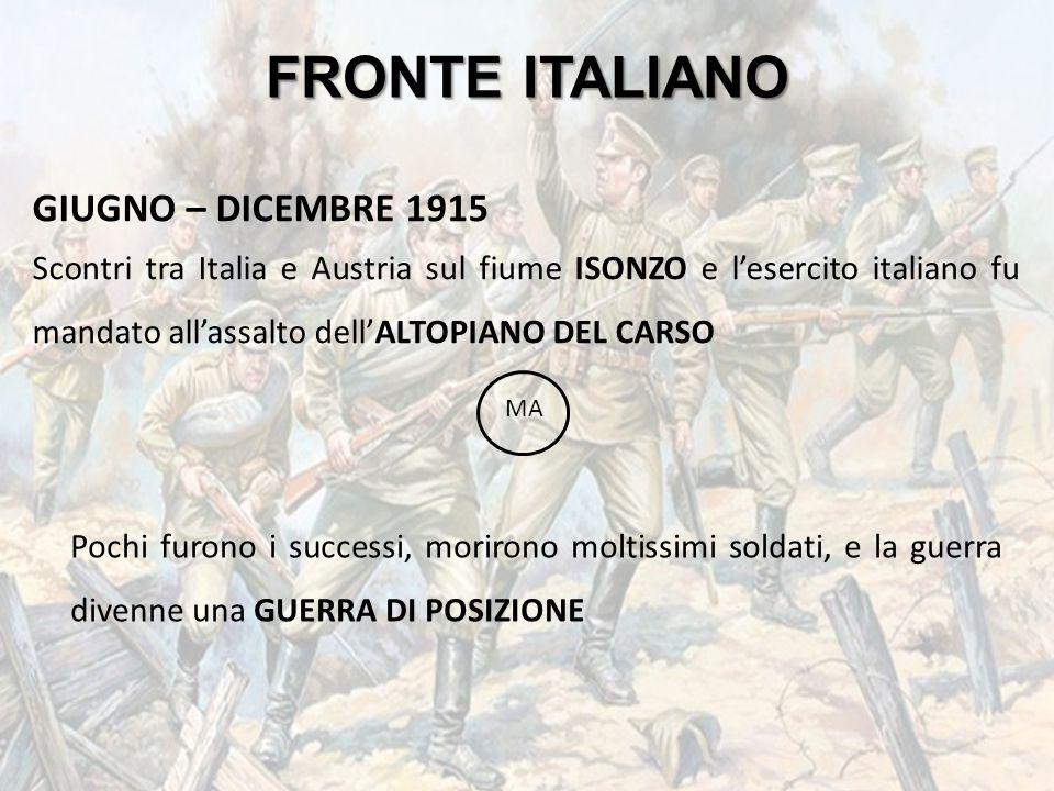 FRONTE ITALIANO GIUGNO – DICEMBRE 1915