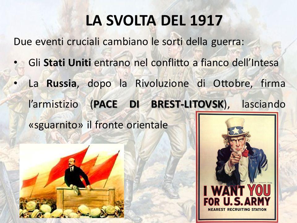 LA SVOLTA DEL 1917 Due eventi cruciali cambiano le sorti della guerra: