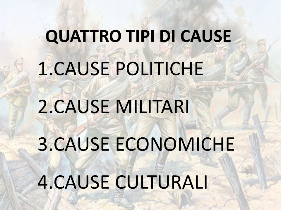 CAUSE POLITICHE CAUSE MILITARI CAUSE ECONOMICHE CAUSE CULTURALI