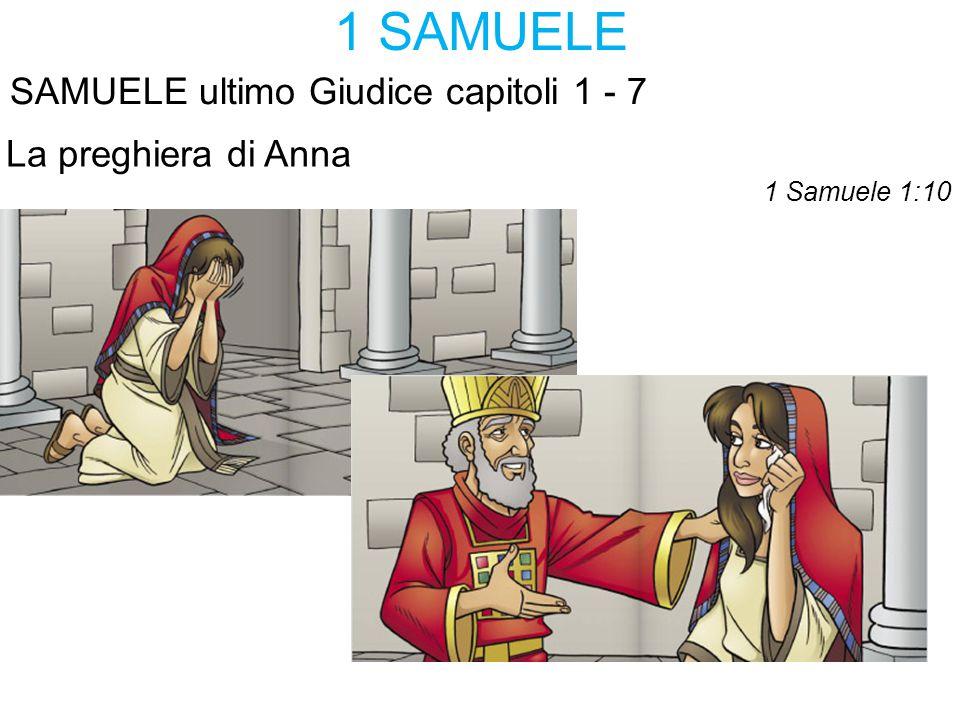 1 SAMUELE SAMUELE ultimo Giudice capitoli 1 - 7 La preghiera di Anna