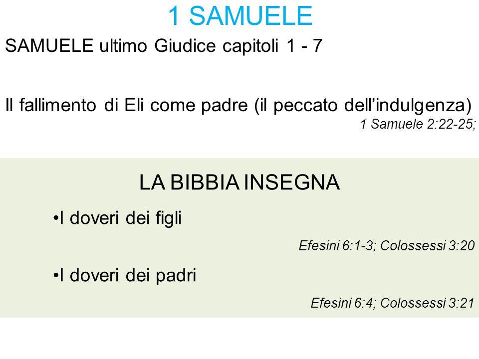 1 SAMUELE LA BIBBIA INSEGNA SAMUELE ultimo Giudice capitoli 1 - 7