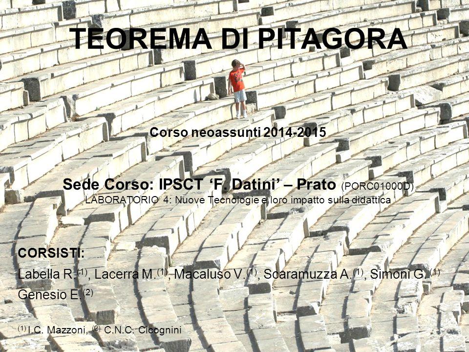 TEOREMA DI PITAGORA Corso neoassunti 2014-2015 Sede Corso: IPSCT 'F