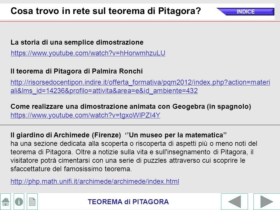 Cosa trovo in rete sul teorema di Pitagora