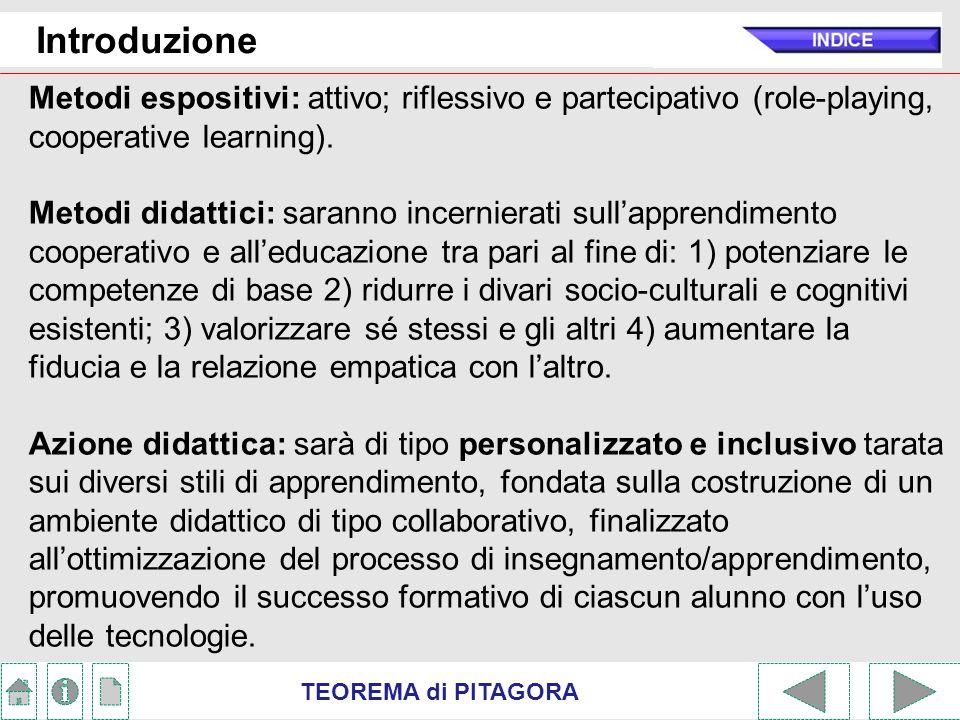 Introduzione Metodi espositivi: attivo; riflessivo e partecipativo (role-playing, cooperative learning).