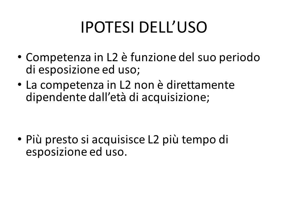 IPOTESI DELL'USO Competenza in L2 è funzione del suo periodo di esposizione ed uso;
