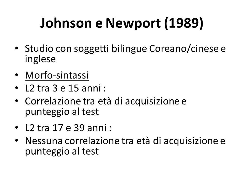 Johnson e Newport (1989) Studio con soggetti bilingue Coreano/cinese e inglese. Morfo-sintassi. L2 tra 3 e 15 anni :
