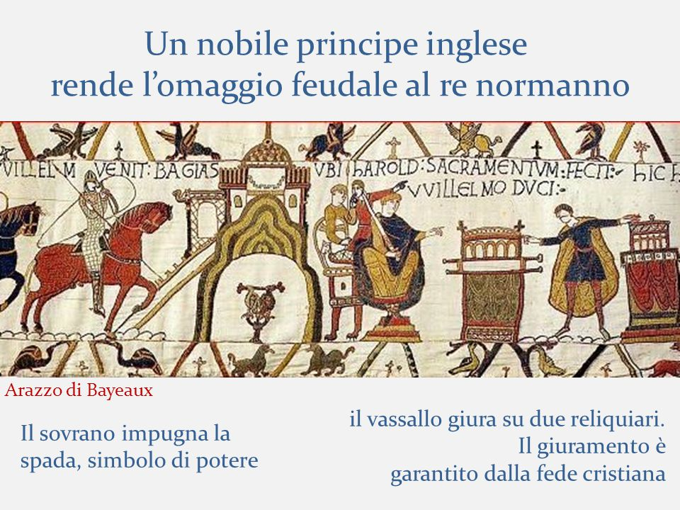 Un nobile principe inglese rende l'omaggio feudale al re normanno