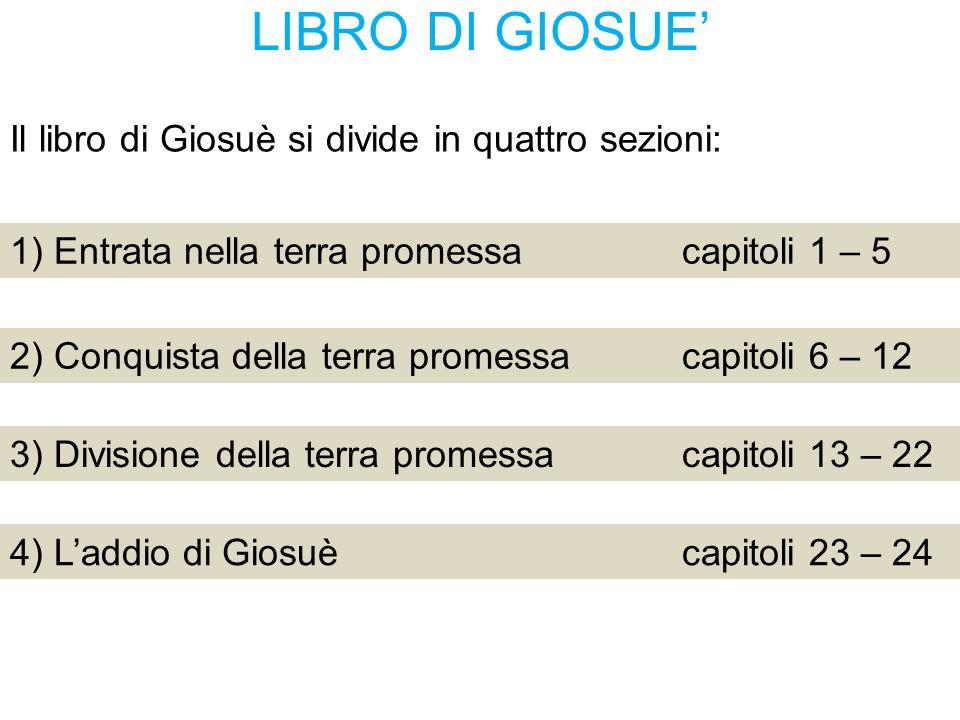 LIBRO DI GIOSUE' Il libro di Giosuè si divide in quattro sezioni: