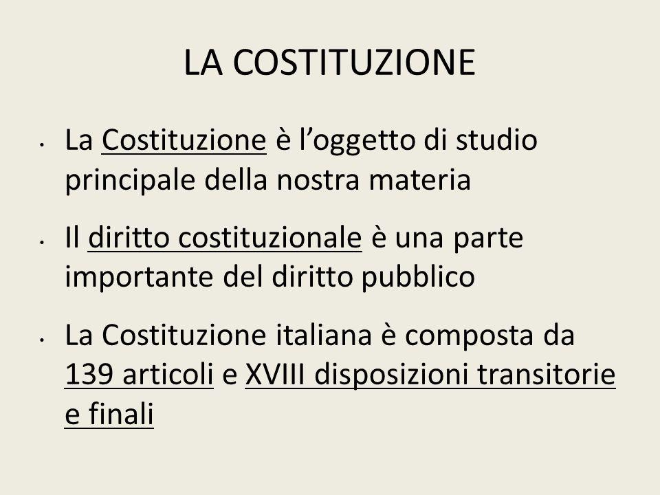 LA COSTITUZIONE La Costituzione è l'oggetto di studio principale della nostra materia.