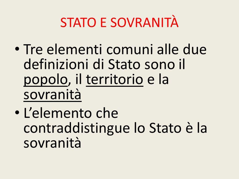 L'elemento che contraddistingue lo Stato è la sovranità