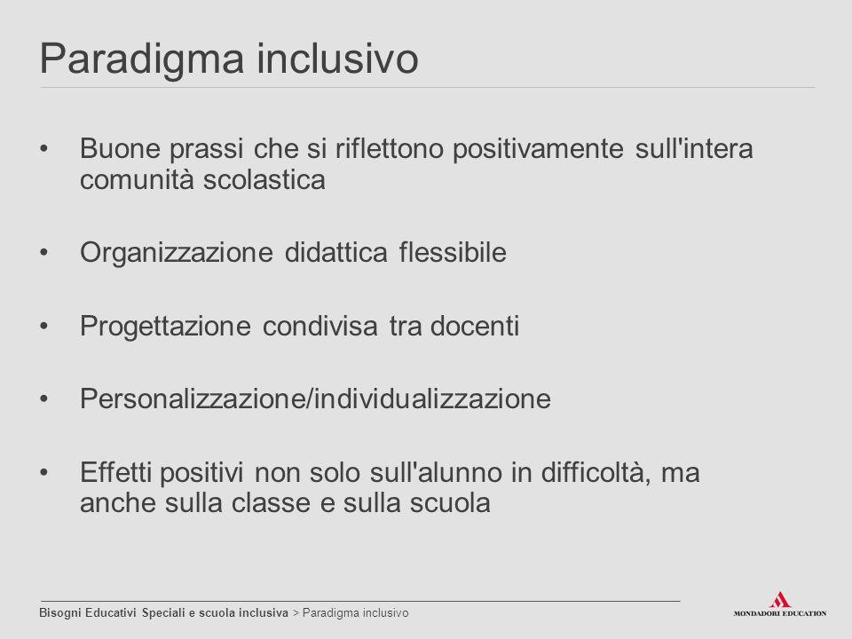 Paradigma inclusivo Buone prassi che si riflettono positivamente sull intera comunità scolastica. Organizzazione didattica flessibile.