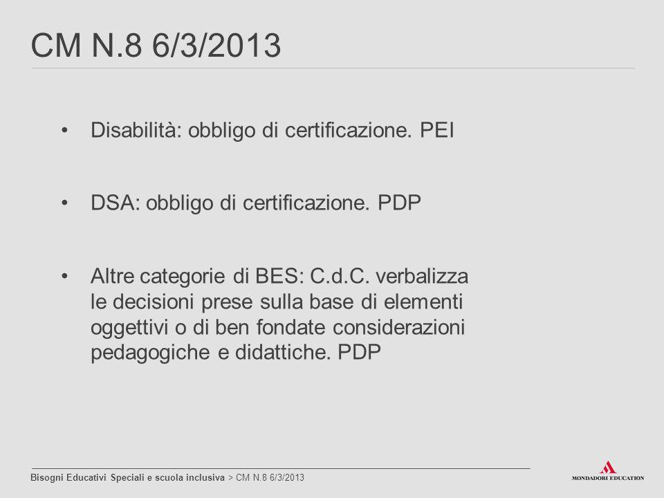 CM N.8 6/3/2013 Disabilità: obbligo di certificazione. PEI