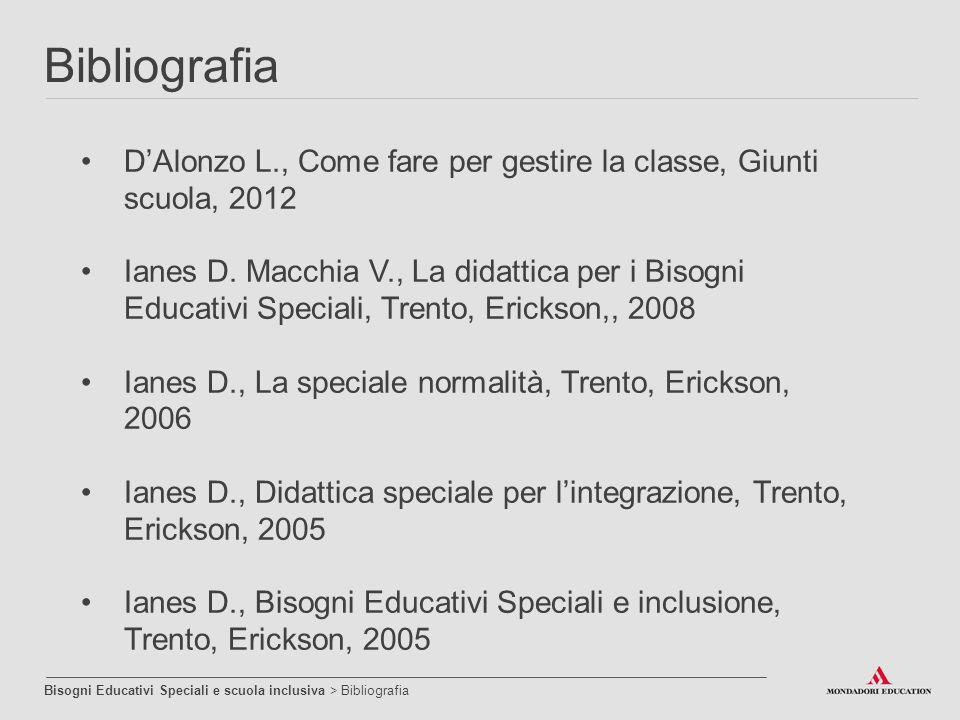 Bibliografia D'Alonzo L., Come fare per gestire la classe, Giunti scuola, 2012.