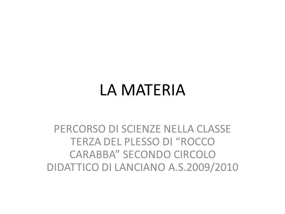 LA MATERIA PERCORSO DI SCIENZE NELLA CLASSE TERZA DEL PLESSO DI ROCCO CARABBA SECONDO CIRCOLO DIDATTICO DI LANCIANO A.S.2009/2010.